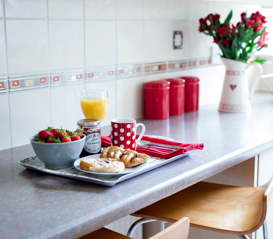 Kitchen breakfast tray vignette