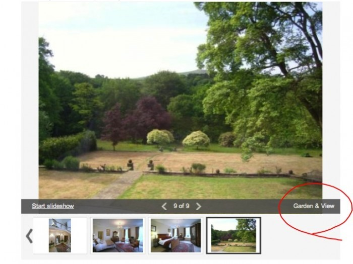A garden & view images in Rightmove